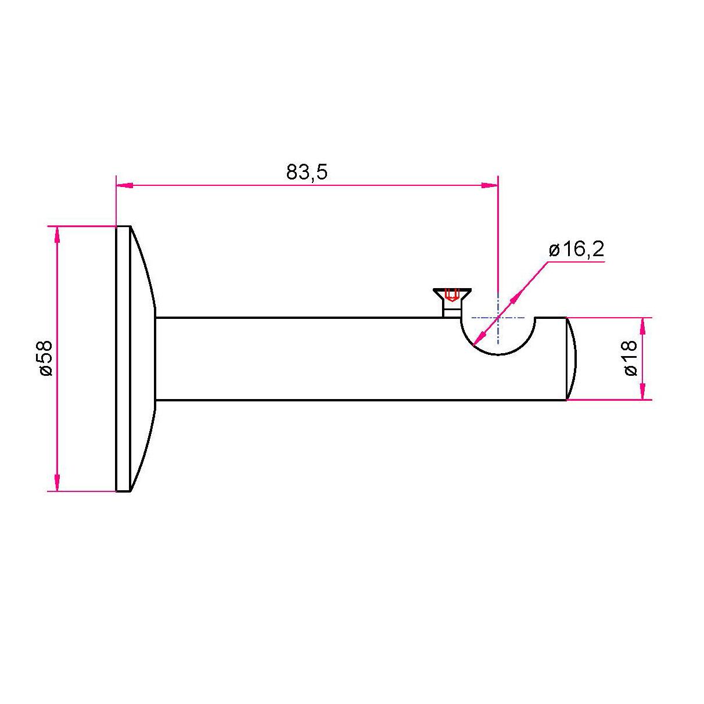 Gardinenstangen Wandhalter 16mm - 1-läufig