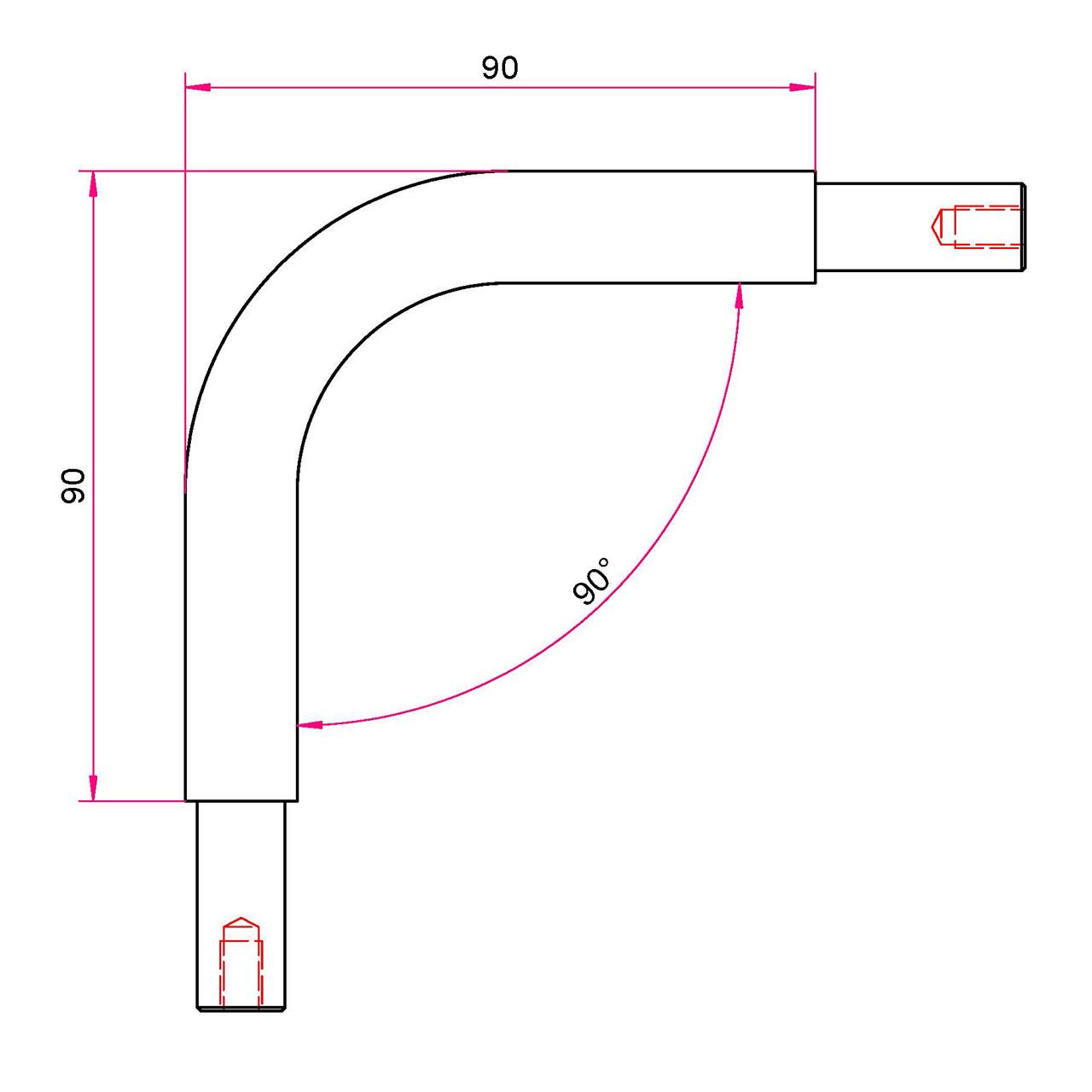 Gardinenstangen Winkelstück 20mm - 90°