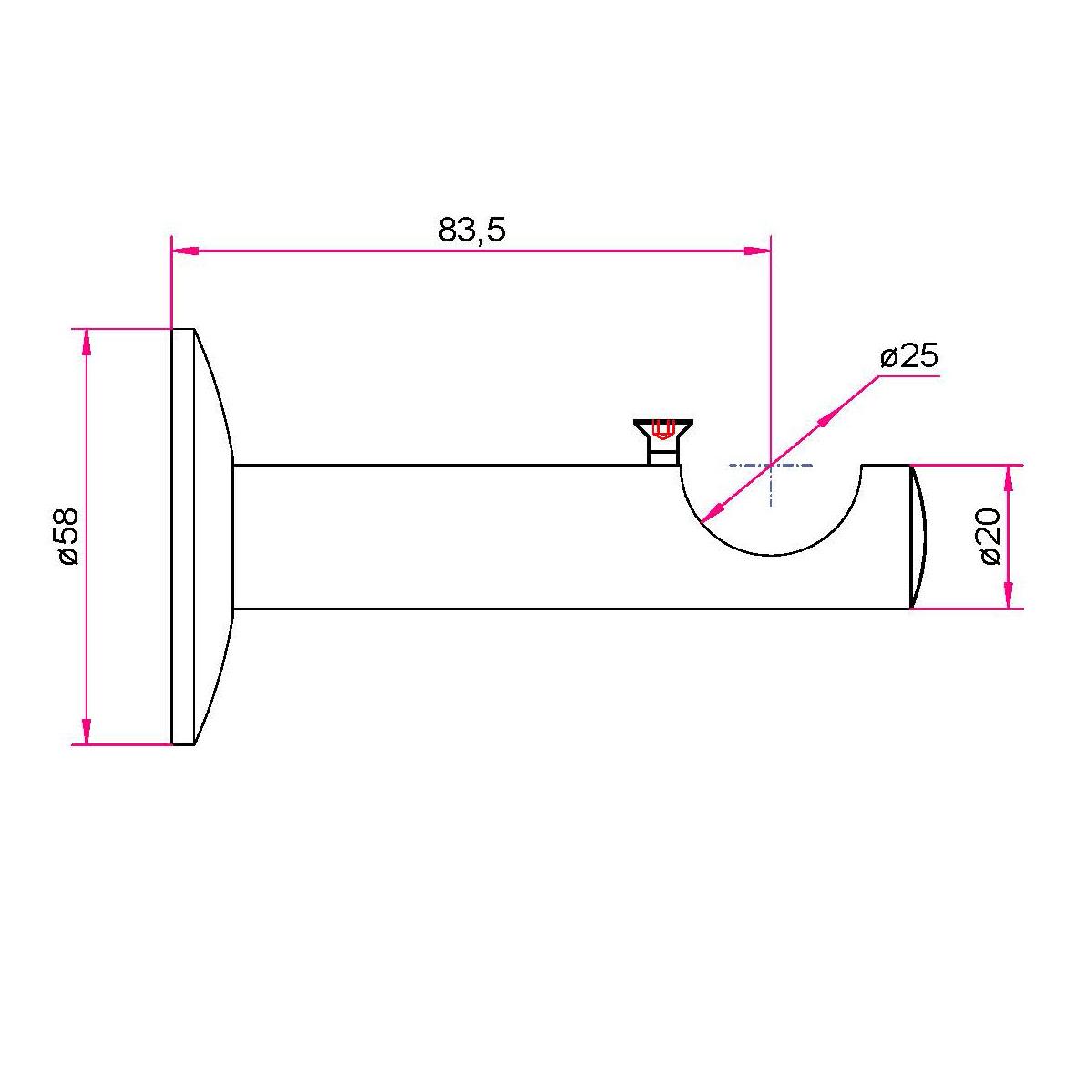 Gardinenstangen Wandhalter 25mm - 1-läufig