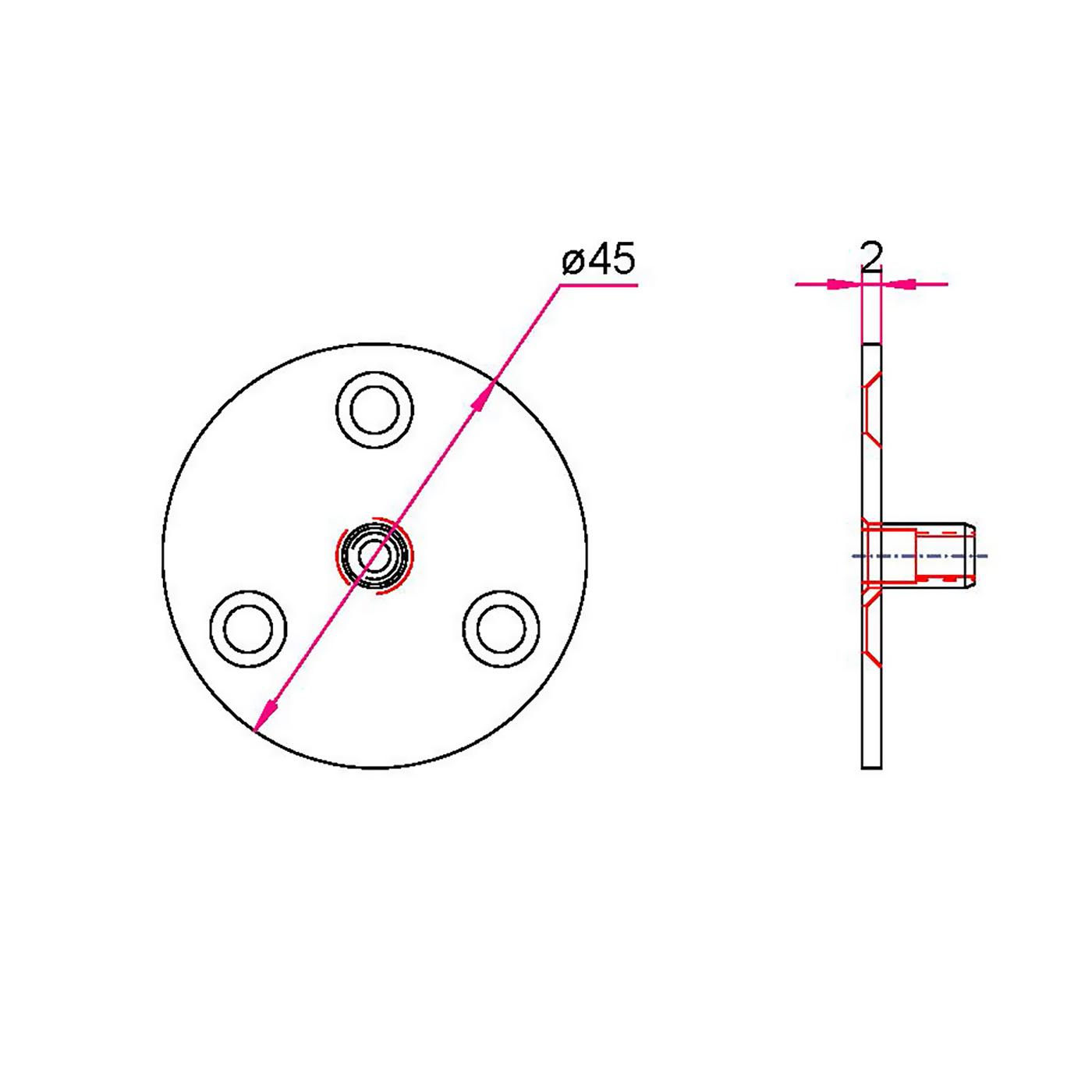 Sonderbefestigungsplatte für Gardinenstangen Wandhalter 12/16/20/25mm