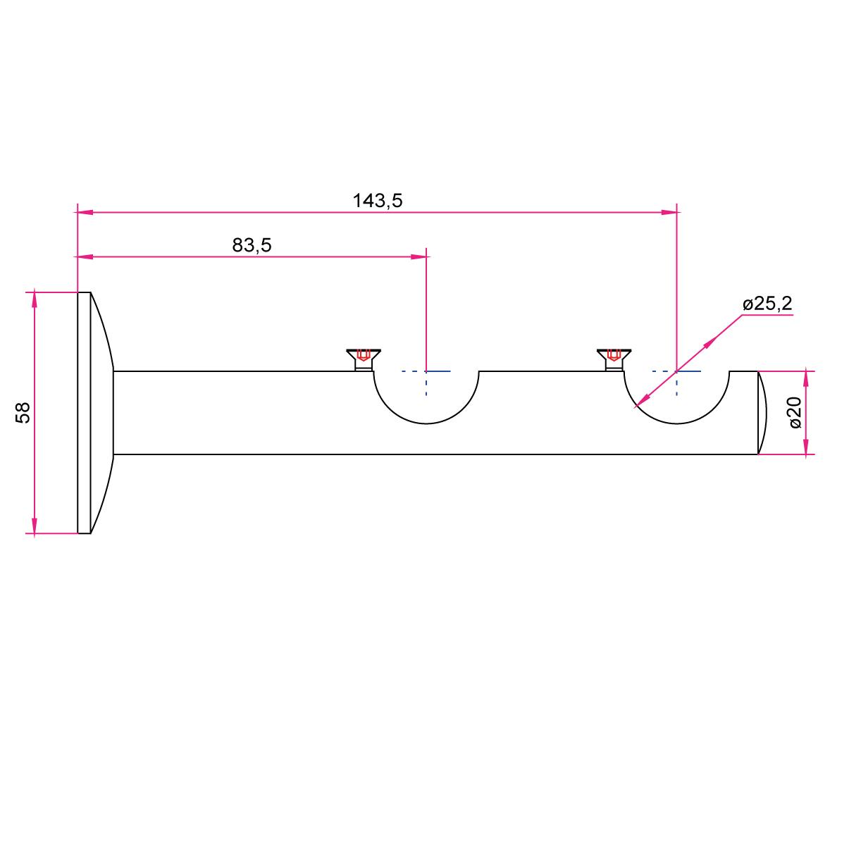 Gardinenstangen Wandhalter 25mm - 2-läufig