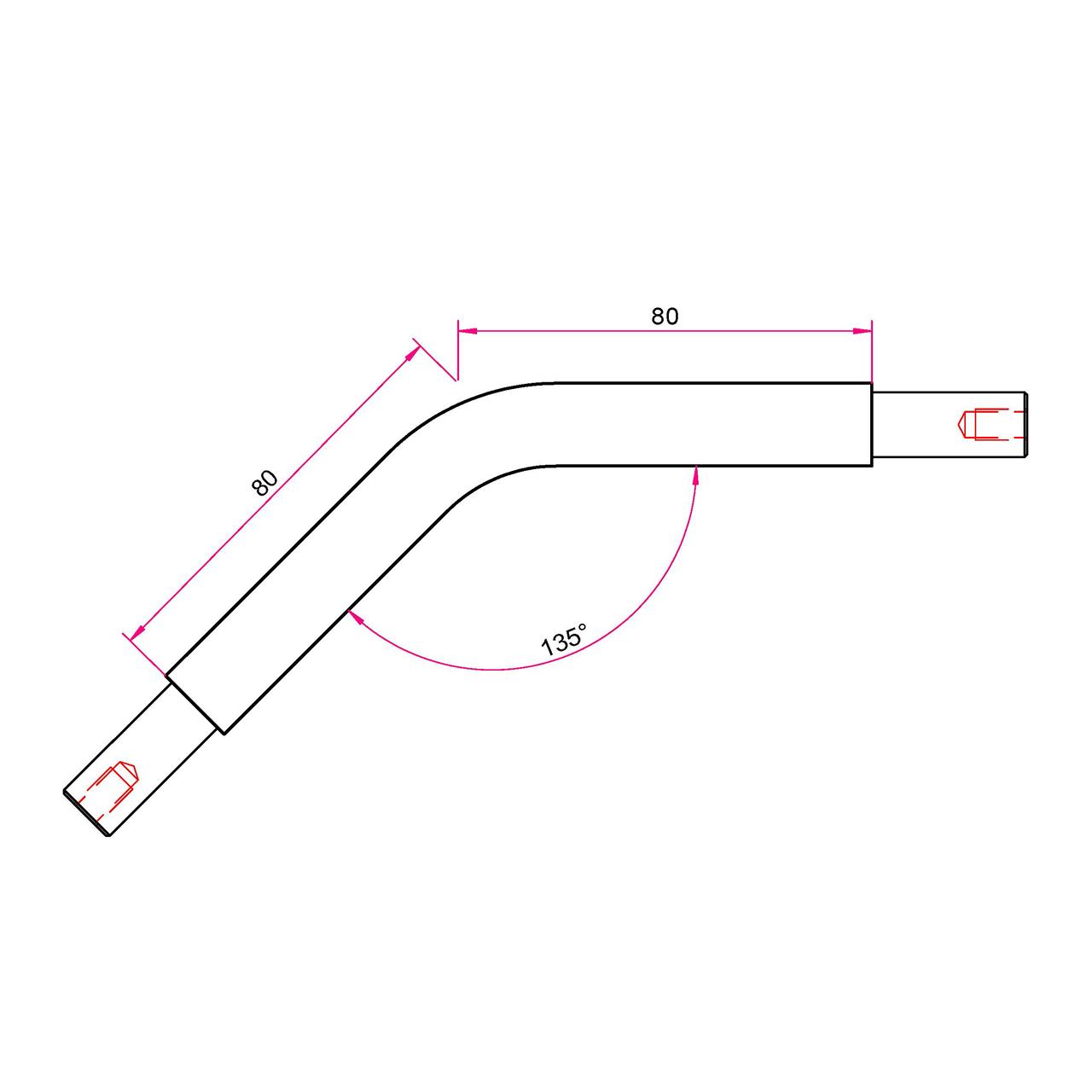 Gardinenstangen Winkelstück 25mm - 135°
